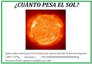 cuánto pesa el sol