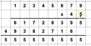 multiplicando el número no deseado 1