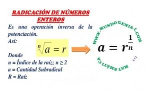 radicicación de números enteros