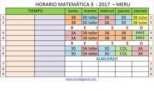 HORADIO MATEMÁTICA 3 - JRC 2017