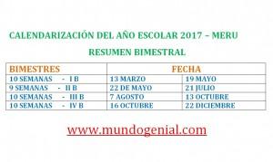 calendarización del años escolar 2017 MERU