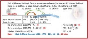 En 1920 la edad de María Elena era cuatro veces la edad de Juan