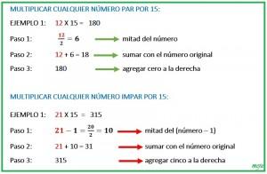 multiplicar cualquier número par e impar por 15