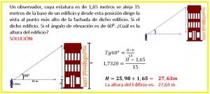 Un observador, cuya estatura es de 1,65 metros se aleja 15 metros de la base de un edificio...