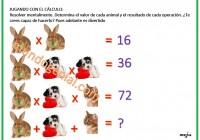 cálculo mental, determina el valor de los animales y el resultado