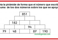 Completa la pirámide de forma que el número que escribas sea la suma de los dos números sobre lsos que se apoya