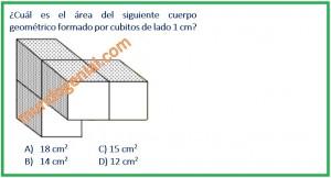 Cuál es el área del siguiente cuerpo geométrico formado por cubito de lado 1 cm