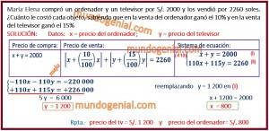 María Elena compró un ordenador y un televisor por 2000 y los vendió por 2260....
