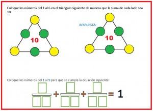 Coloque los números del 1 al 9 para que se cumpla la ecuación siguiente