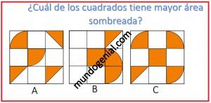 Cuál de los cuadrados tiene mayor área sombreada