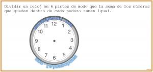 Dividir un reloj en 6 partes iguales de mo que la suma sea igual.....