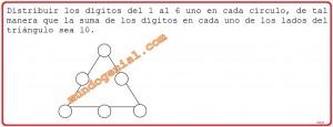 distribuir los dígitos del 1 al 6 uno en cada círculo, ...