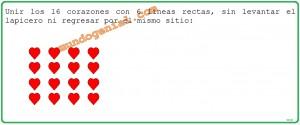 unir los 16 corazones con 6 líneas rectas,...
