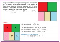 Dos piezas cuadradas y tres piezas rectangulares se acomodan para formar un rompecabezas...