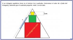 Si un triángulo equilátero tiene en el interior tres cuadrados. ...