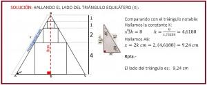 hallando el lado del triángulo equilátero