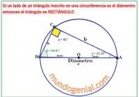 todo triángulo inscrito en una semicircunferencia tiene un ángulo recto