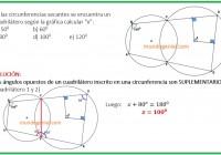 En la circunfencia secantes se encuentra un cuadrilátero hallar x