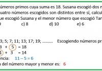 Tania escogio dos números primos cuya suma es 18......