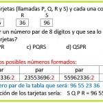 Milguard tiene cuatro tarjetas P-Q-R-S y cada una contiene un número de dos dígitos...
