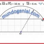 Calcule AB si PQ-16m y SB-16m. con centro en O