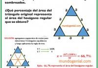 De un triángulo equilátero se retiran los tres triángulos sombreados....