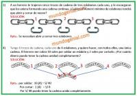 A un herrero le trajeron cinco trozos de cadena de tres eslabones...