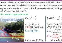 María Elena debe calcular el ancho de un río y la altura de un árbol...