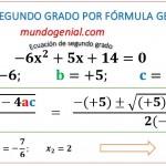ecuación de segundo grado y fórmula general
