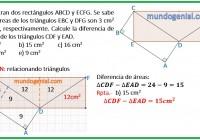 Se muestran dos rectángulos ABCD y ECFG. Se sabe que las áreas de los.......
