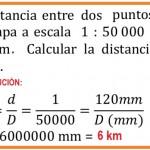 la distancia entre dos puntos en un mapa a escala .......