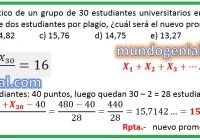 El promedio aritmético de un grupo de 30 estudiantes universitarios en un curso es 16...