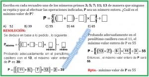 Escriba en cada recuadro uno de los números primos....