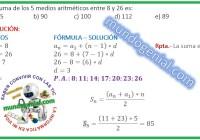 La suma de los 5 medios aritméticos entre 8 y 26 es