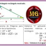 calcular h en el triángulo rectangulo....