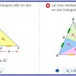 una mediana divide un triángulo en dos triángulos iguales